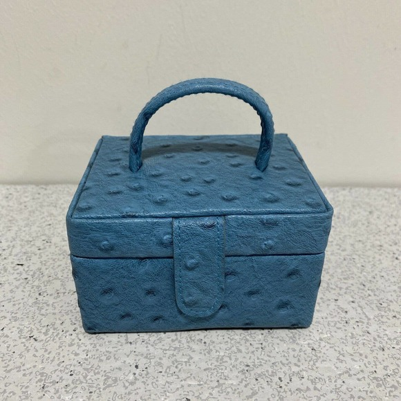 Miniature Portable Jewelry Box Organizer Carrier Blue Faux Ostrich Leather Cover
